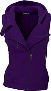 Womens Hooded Zip-Up Vest with Zipper Detail and Plus Size