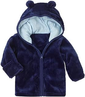 XWDA Baby Boys Girls' Micro Fleece Jacket Lined Hoodies Kids Warm Solid Zipper Up Coat
