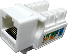 Linyansz RJ45 Keystone Jack Ethernet Punch Down Cat 5 5e 6 Inserts Network Module (10-Pack White)