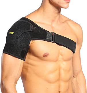 Yosoo Shoulder Brace with Pressure Pad Adjustable Shoulder Support Wrap for Rotator Cuff, Dislocated AC Joint, Tendonitis, Swelling, Arthritis, Fits Women Men