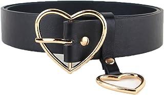 Women Lady Fashion Gold Silver Heart Buckle Belt Leather Jeans Dress Waist Band