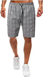 waitFOR Men Fashion Plaid Print Drawstring Shorts Elastic Waist Beach Trousers Summer Casual Tethered Short Pants Men's Lo...
