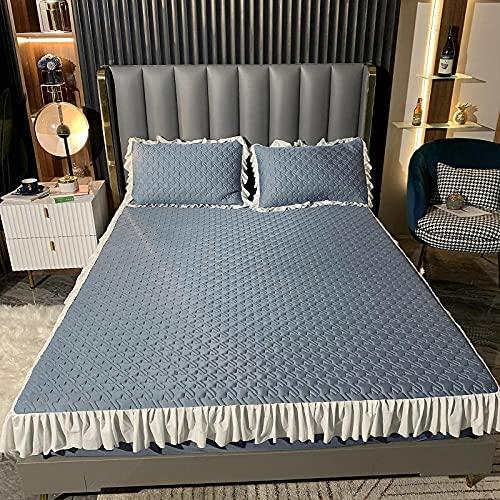 YFGY Bajera Ajustable Combina King Blue, Ropa de Cama de satén, Falda de Cama, sábana, Dormitorio de Mujer, Hotel para niñas, Funda de colchón, Funda de Almohada, 180 * 200cm 3PCS