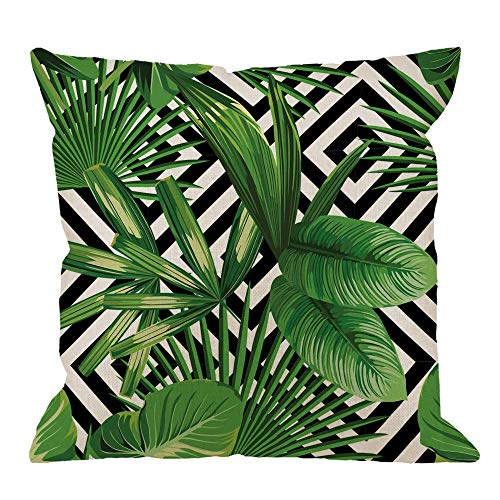 Palm Pillow Case Summer Exotic Jungle Plant Tropical Palm Leaves on The Geometric Cotton Linen Cushion Cover Square Standard Home Decorative Throw Pillow White Black Green 18 X 18 Inch