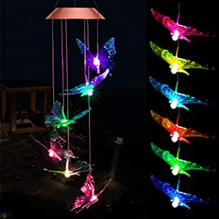 ME9UE Solar Butterfly Wind Chimes, Outdoor Waterproof Mobile Romantic LED Multi Color-Changing Solar Sensor Powered Lights for Home, Yard, Night Garden, Party, Valentines Gift, Festival Decor