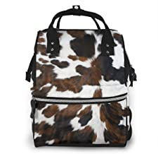 Cowhide Tan Black and White Texture Multi-Function Waterproof Travel Backpack Diaper Bag Mommy Baby Bag Large Capacity Stylish and Durable