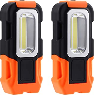 TORCHSTAR Portable LED Work Light, Multi-use COB Flashlight, Magnetic Base & Hanging Hook, Battery-Operated 5000K Daylight, 120° Beam Angle Flood Light, for Car Repairing and Emergency, Pack of 2