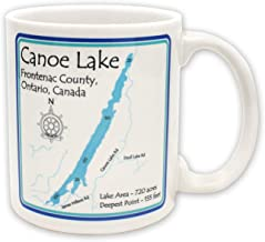 Davern Lake in ONTARIO, CN (1666 LA) - Ceramic Coffee Mugs 15 oz Set of 4 - Nautical chart and topographic depth map.