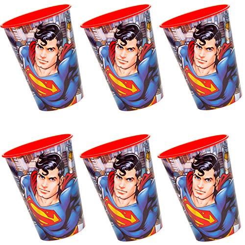cama24com Superman, bicchieri di plastica, 6 pezzi, supereroi,...