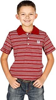 Boys' Striped Yarn Dyed Short Sleeve Polo Shirt Burgundy Medium