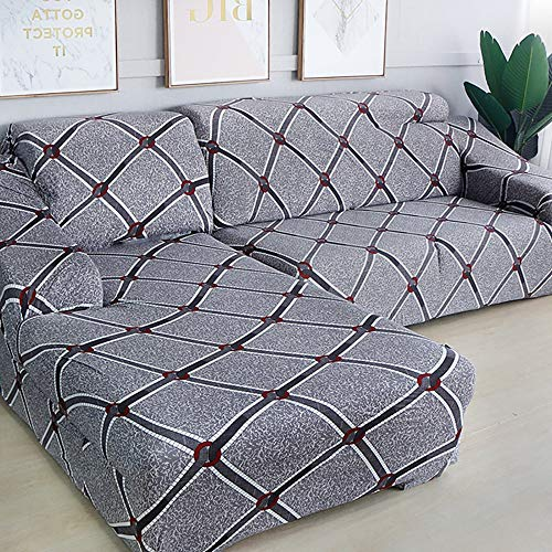 KIRA Sofa Slipcover Stretch Fabric Stretch Couch Slipcover 1/2/3/4 Seater L Shaped Sofa Cover Chaise Longue Skin-Friendly Active Printing and Dyeing Durable and Wear Resistant