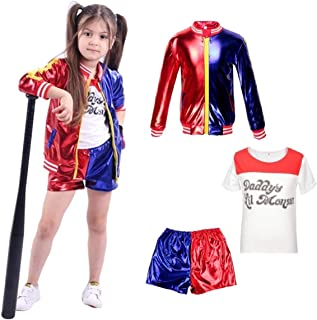 D&M Kids Girls Suicide Squad Harley Quinn Coat Shorts Top Set Halloween COS Costume