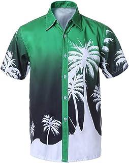 F_Gotal Shirt for Mens, Men's Short Sleeve Hawaiian Print Beach Shirt Big and Tall Slim Fit Casual Summer Tees Blouse Tops