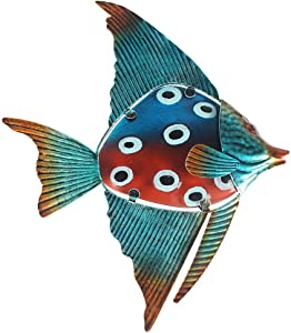 Fish Wall Art Decorations for Indoor Outdoor, Beach Theme Metal Glass Wall Art Decor for Pool, Patio, Bathroom or Garden, 10.3