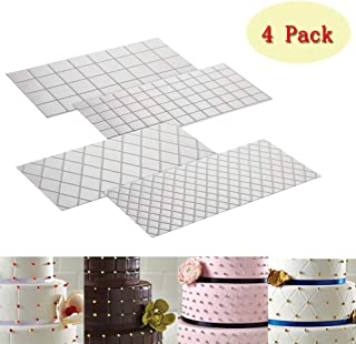 Cake Fondant Impression Mat Mold Diamond Quilted Grid Texture Embossed Lace Embossing Mat Cake Decorating Supplies for Cup...