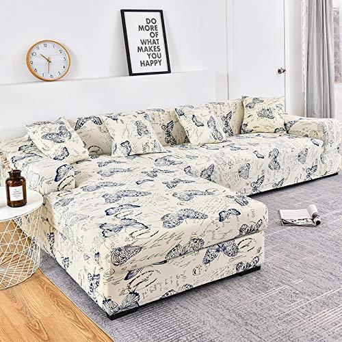 WXQY Funda de sofá en Forma de L Funda de sofá elástica Funda de sofá elástica Esquina de Toalla de sofá Todo Incluido Funda de sofá Funda de Chaise Longue A17 4 plazas