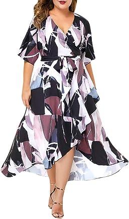 Huaze Women Plus Size Dress Vestido de Playa asimétrico para Mujer de Talla Grande, Manga Corta, Cuello en V, Floral, con Abertura Frontal