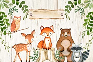 Leyiyi 5x3ft Cartoon Zoo Animals on Wooden Board Backdrop Rustic Kids Birthday Banner Baby Shower 1st B Day Background Watercolor Tree Branch Enchanted Forest Portrait Vinyl Prop Studio Wallpaper