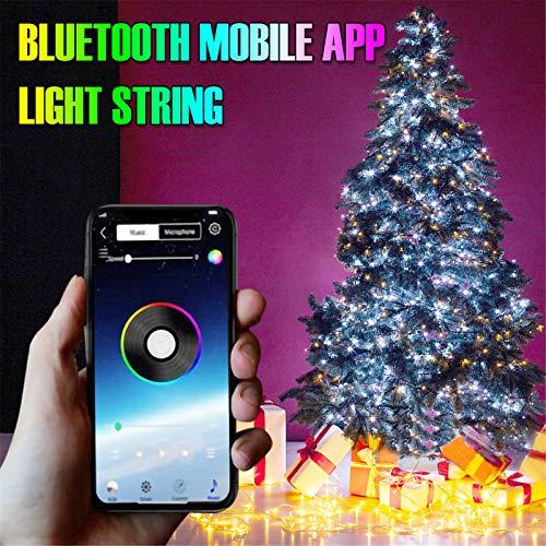 ODJOY-Fan Luci per Decorazioni per Alberi di Natale Telecomando per App con Luci a LED a più Colori Personalizzati Supporta Bluetooth, per Decorazioni Natalizie per Feste Casa