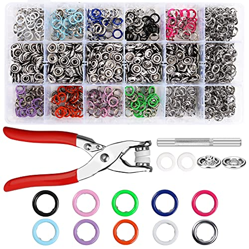 300 Sets Snap Buttons Snaps 9.5mm Metal Snaps Buttons with Fastener Pliers Press Tool Kit Perfect for DIY Crafts Clothes Hats and Sewing(10 Colors)