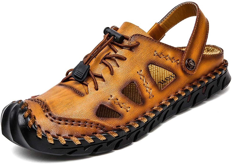 Fashion Sandals for Men Slipper shoes Lace Up OX Leather Retro Handtailor Sandals Men's Boots (color   Yellow Brown, Size   7.5 UK)