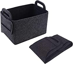 POLATU Felt Storage Basket Collapsible Storage Bin Convenient Box Organizer with Carry Handles for Organize Office, Bedroom, Closet, Kid's Toys,Gifts, DVD,Laundry(Dark Gray,S)