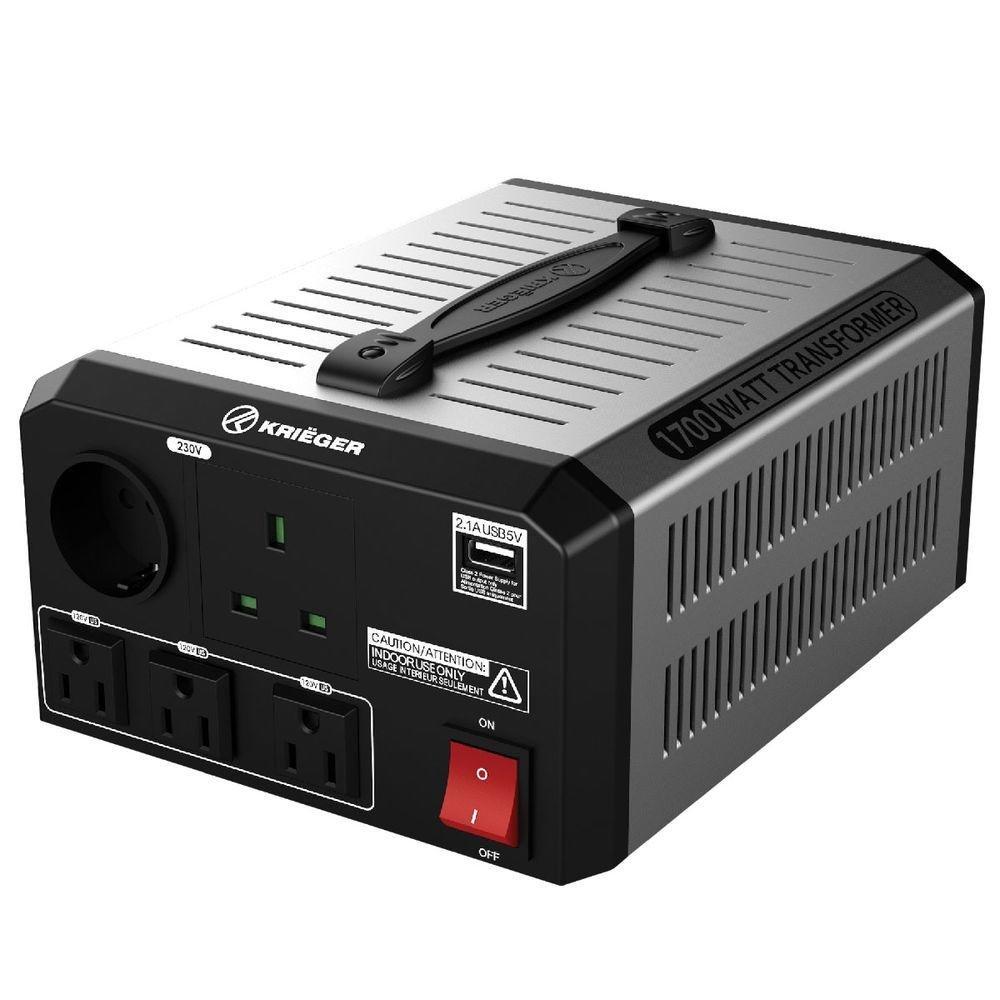 KRIEGER 1700W Transformador 220v a 110v, 1700 Vatios de Potencia Máxima, Convierte Voltaje de 220-240 Voltios a 110-120V y viceversa, Transformador con Núcleo Toroidal Aprobado por MET bajo UL y CSA: Amazon.es: