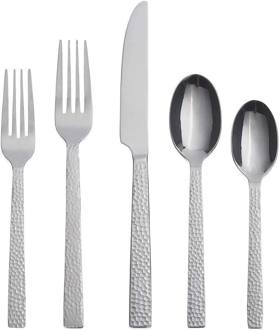 Oneida Chefs Table Hammered Max 52% OFF 45 Piece Inventory cleanup selling sale Flatware Everyday Set Serv