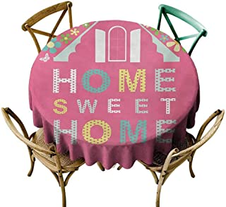 W Machine Sky Tassel Tablecloth Home Sweet Home,Abstract Roof and Window Surrounded by Colorful Flowers and Butterflies,Multicolor Diameter 70