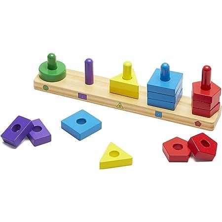 Melissa & Doug- Stack & Sort Board Tablero para Apilar y Clasificar, Color surtido (379)