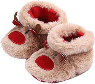 Christmas Baby Shoes, Cute Cartoon Anti-Slip Slipper Floor Socks, Toddler Kids Winter Knit Non-Slip Booties Xmas Gifts by Inkach (US:Age:0-3Months/Lable Size:12, Coffee)