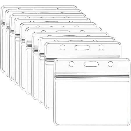 Porte-Badge Transparent, 10 Pcs Porte-Badges en Plastique étanche porte-cartes d'identité pour Carte d'étudiants, Carte de Visite, Carte Bus