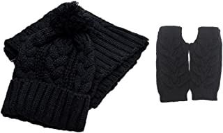 Jelinda Women Warm Knitted Scarf Gloves and Hat Winter Set (Black)