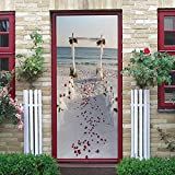LuSeven vinilo para puertas de madera Blanco boda océano 85x215cm(33.46 inches * 84.64 inches) Pegatina Vinilo floral para puertas, cocinas, baños, despensas, farmacias, boutiques, probadores, restaur