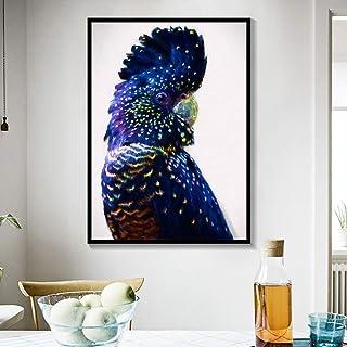 ganlanshu Pintura sin Marco Cacatúa Australiana Arte de la Pared Lienzo Arte de la Pared Azul Marino Pájaro Animal Decoración del hogarZGQ2423 50X70cm