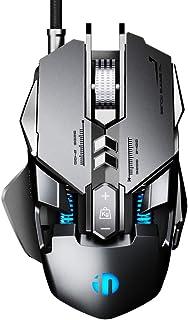 INPHIC Ratón para Juegos RGB 7200 dpi PC USB con Cable Ratones ergonómicos para Juegos Ratón MMO Computer Pro Gamer con 12 Botones programables, 10 Modos RGB, dpi de 6 palancas y LED Visible, Negro