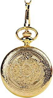 Retro Pocket Watch Analogue Quartz Pocket Watch Embossed Pattern Golden Embossed Pattern Classic Pocket Watch Golden L