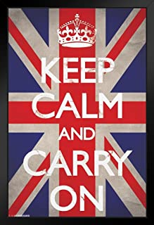 Pyramid America Keep Calm and Carry On Union Jack Flag WWII Wartime Great Britain Motivational Black Wood Framed Poster 14x20
