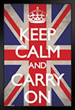 Pyramid America Keep Calm and Carry On Union Jack Flag WWII Wartime Great Britain Motivational 14x20 inches Black 36551