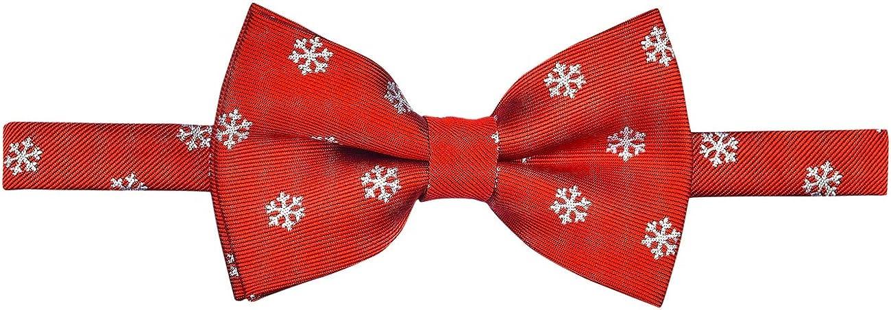 Retreez Christmas Snowflakes Pattern Woven Pre-tied Boy's Bow Tie