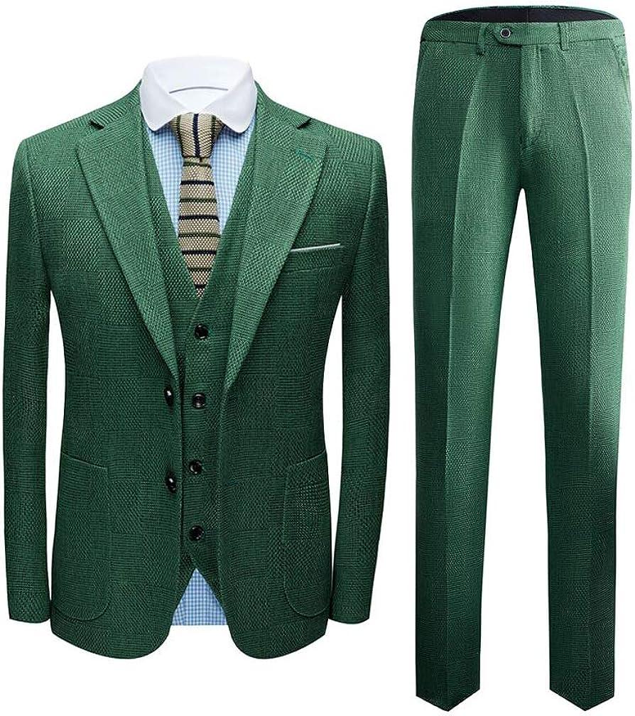 TOPG Men's Slim Fit Two Button 3 PC Suit Notch Lapel Wedding Party Suits