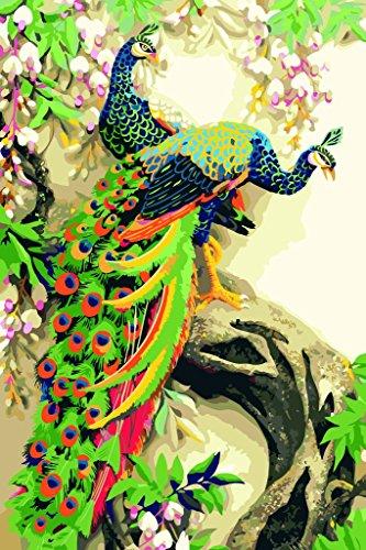 [ en bois encadré ou non ] [ Nouvelle Libération ] Peinture à l'huile bricolage by Numbers, Peinture au Numéro Kits - Bleu Paon Trois Paonne 16 * 20 pouces - Numérique Peinture à l'huile Toile Mur Art Création Paysage Peintures pour Accueil Vie Pièce Bureau Picture Décor Décorations Cadeaux - Bricolage Peindre par Nombres Bricolage Toile Trousse pour Adultes Avancé Enfants Seniors Junior - Nouveau Arrivee