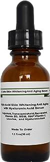 Kojic Acid Skin whitening Anti Aging with Tranexamic Acid, Hyaluronic Acid Serum (1.2oz, Pump Dispenser)