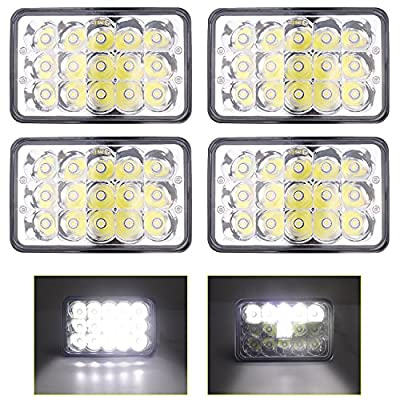 Dot approved 4x6 inch LED Headlights 45w Hi/Low Led Sealed Beam Rectangle Replacement H4651 H4652 H4656 H4666 H6545 for Peterbil Kenworth Freightinger Ford Probe Chevrolet Oldsmobile Cutlass
