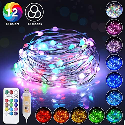 LED Fairy String Lights USB 33ft 100 LEDs 12 Color&Modes Color Changing Fairy Lights with Remote,Firefly Lights for Bedroom Christmas Wedding