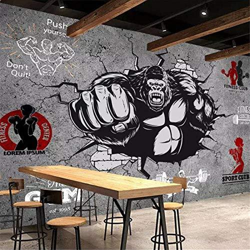 XQFZXQ Fototapete -PVC Grauer Fitness-Bodybuilder-Gorilla, der Wandgymnastik bricht Selbstklebend - 3D Moderne Wanddeko - Design Tapete Children's Room Cartoon Mural Boy Girl Room Deco(B)300x(H)210cm
