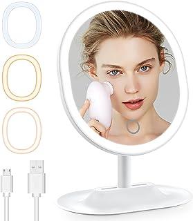 Cocoda Miroir Maquillage, 3 Couleurs 46pcs LED Miroir Lumineux avec Éclairage Continu, Écran Tactile & Rotation Réglable à...