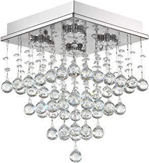 Wenrun Lighting LED Three Brightness K9 Crystal Chrome Mirror Stainless Steel Ceiling Lights Fixture Lamps Chandeliers Pendant Lights Lighting With LED Bulbs and Remote Control For Stairs Lobby Country House Showroom Living Room D11.81 x H59.05