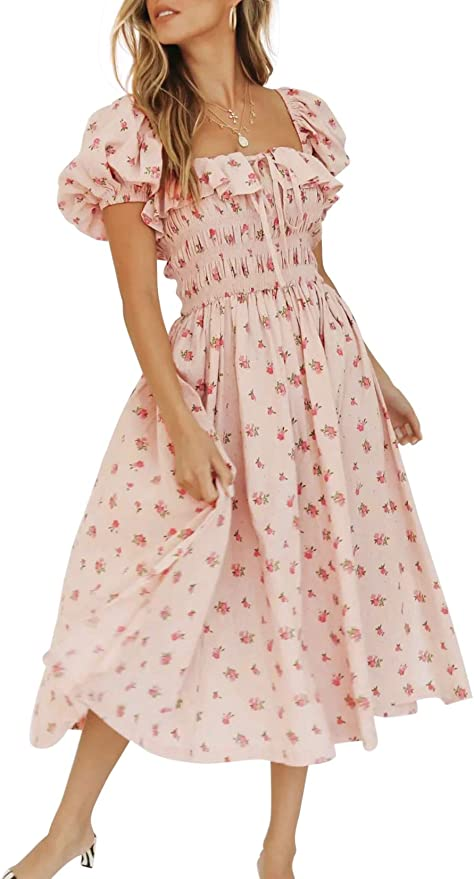 70s Clothes | Hippie Clothes & Outfits R.Vivimos Womens Summer Floral Print Puff Sleeves Vintage Ruffles Midi Dress $31.99 AT vintagedancer.com