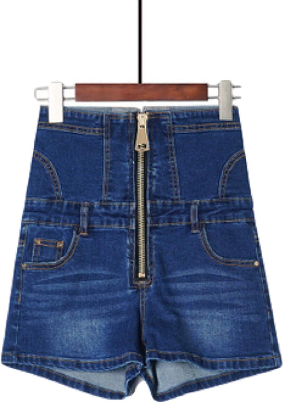 Women's High-Waisted Tummy Control Denim Shorts Trendy Fashion Stitching Zipper